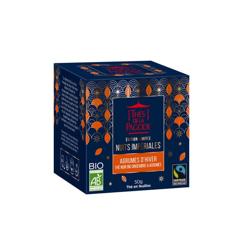 """Thé noir """"agrumes d'hiver - Visuel de la boite carton 50g"""
