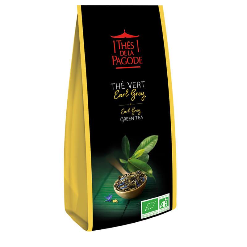 Thé vert earl grey - Visuel du sachet de 100g