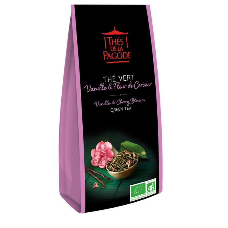 Thé vert vanille & fleur de cerisier - Visuel du sachet de 100g